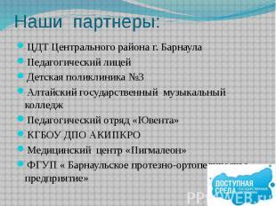 Наши партнеры: ЦДТ Центрального района г. Барнаула Педагогический лицей Детская