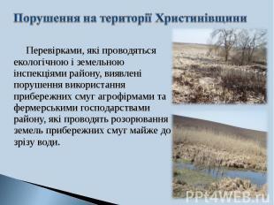 Перевірками, які проводяться екологічною і земельною інспекціями району, виявлен
