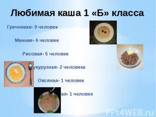 Гречневая- 9 человек Манная- 6 человек Рисовая- 5 человек Кукурузная- 2 человека
