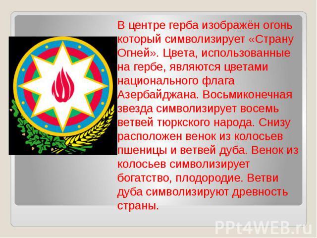 В центре герба изображён огонь который символизирует «Страну Огней». Цвета, использованные на гербе, являются цветами национального флага Азербайджана. Восьмиконечная звезда символизирует восемь ветвей тюркского народа. Снизу расположен венок из кол…