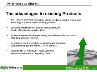The advantages to existing Products