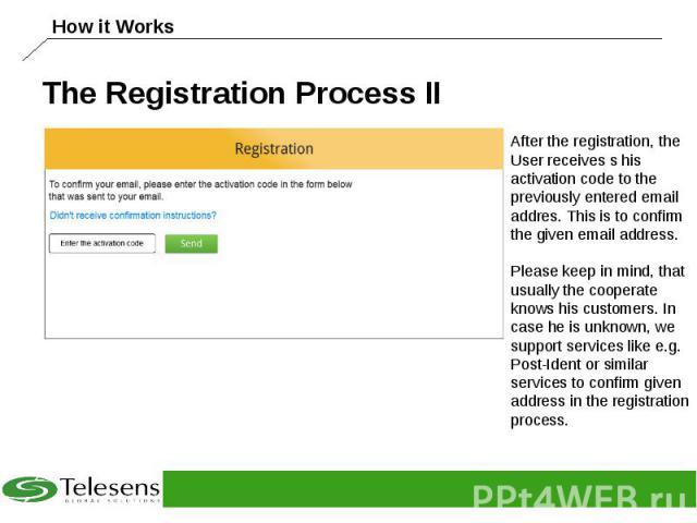 The Registration Process II