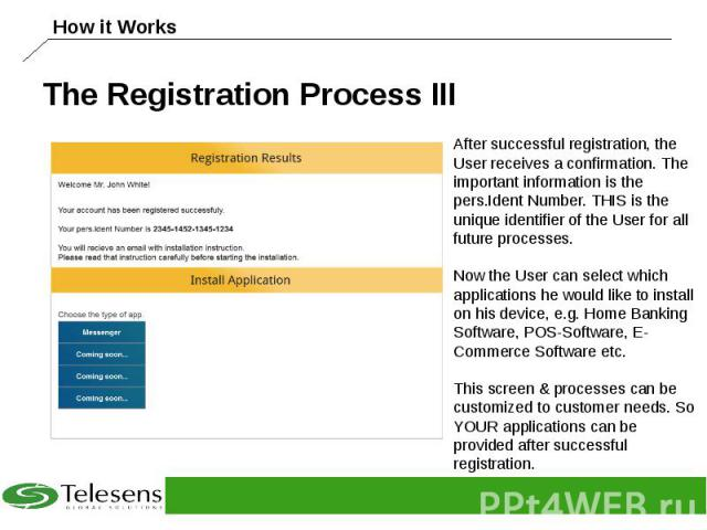 The Registration Process III