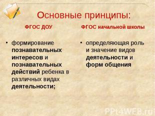 Основные принципы: ФГОС ДОУ формирование познавательных интересов и познавательн