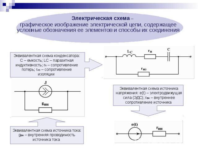 Электрическая схема – Электрическая схема – графическое изображение электрической цепи, содержащее условные обозначения ее элементов и способы их соединения