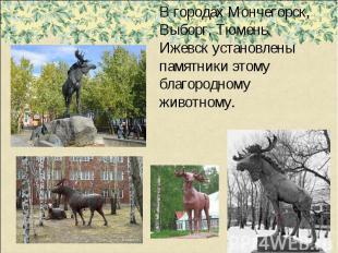 В городах Мончегорск, Выборг, Тюмень, Ижевск установлены памятники этому благоро