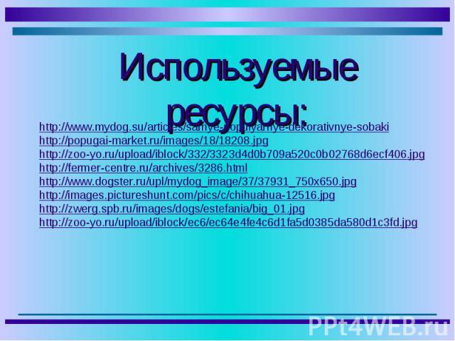 Используемые ресурсы: http://www.mydog.su/articles/samye-populyarnye-dekorativnye-sobaki http://popugai-market.ru/images/18/18208.jpg http://zoo-yo.ru/upload/iblock/332/3323d4d0b709a520c0b02768d6ecf406.jpg http://fermer-centre.ru/archives/3286.html …