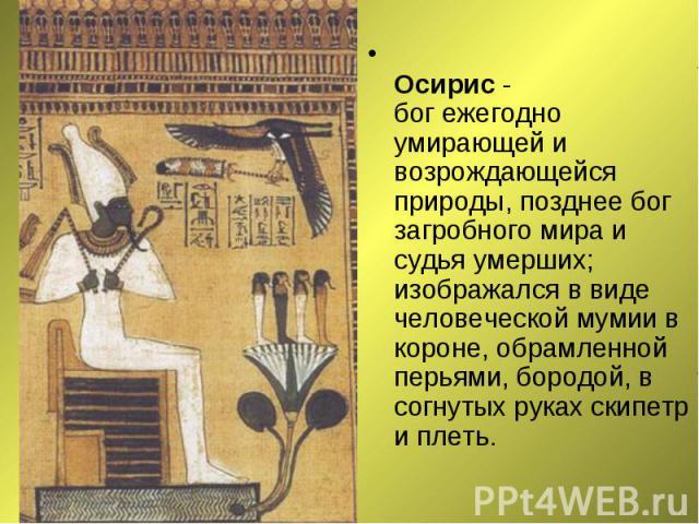 Осирис - бог ежегодно умирающей и возрождающейся природы, позднее бог загробного мира и судья умерших; изображался в виде человеческой мумии в короне, обрамленной перьями, бородой, в согнутых руках скипетр и плеть. Осирис - бог ежегодно умирающей и …