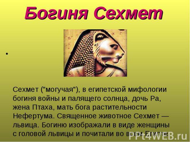 """Сехмет (""""могучая""""), в египетской мифологии богиня войны и палящего солнца, дочь Ра, жена Птаха, мать бога растительности Нефертума. Священное животное Сехмет — львица. Богиню изображали в виде женщины с головой львицы и почитали во всем Ег…"""