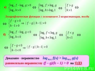 Логарифмическая функция с основанием 2 возрастающая, тогда Доказано - неравенств