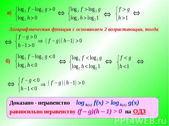 Логарифмическая функция с основанием 2 возрастающая, тогда Доказано - неравенство log h(x) f(x) > log h(x) g(x) равносильно неравенству (f – g)(h – 1) > 0 на ОДЗ