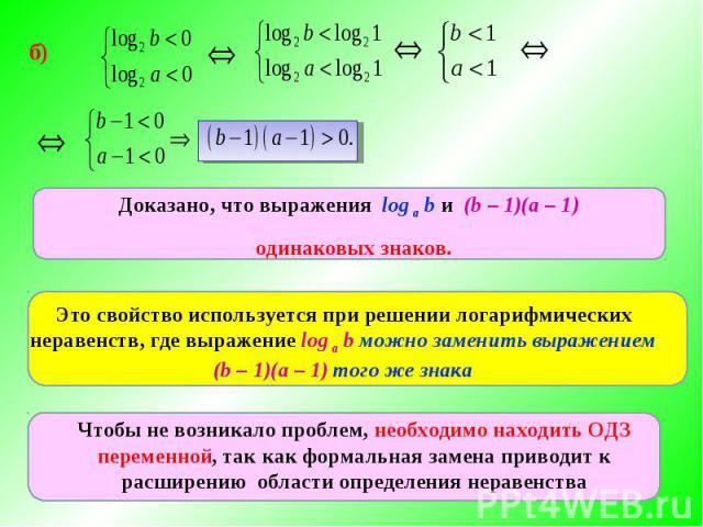 Доказано, что выражения log а b и (b – 1)(а – 1) одинаковых знаков.Это свойство используется при решении логарифмических неравенств, где выражение log а b можно заменить выражением (b – 1)(а – 1) того же знакаЧтобы не возникало проблем, необходимо н…