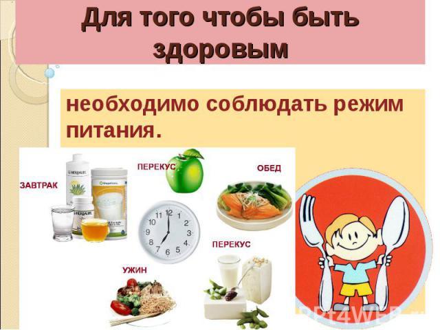 Для того чтобы быть здоровымнеобходимо соблюдать режим питания.