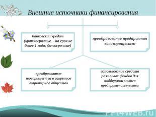 Внешние источники финансирования банковский кредит (краткосрочные - на срок не б