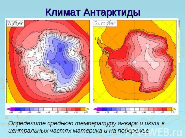 Климат Антарктиды Определите среднюю температуру января и июля в центральных частях материка и на побережье