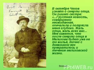 В октябре Чехов узнаёт о смерти отца. Он пишет сестре: «...Грустная новость, сов