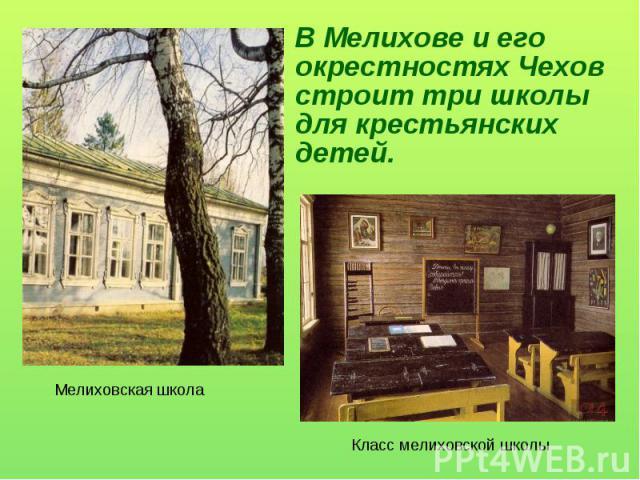 В Мелихове и его окрестностях Чехов строит три школы для крестьянских детей. Мелиховская школаКласс мелиховской школы