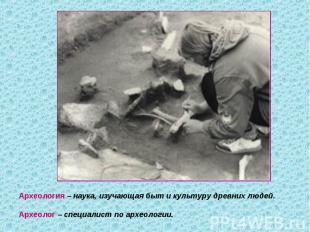 Археология – наука, изучающая быт и культуру древних людей.Археолог – специалист