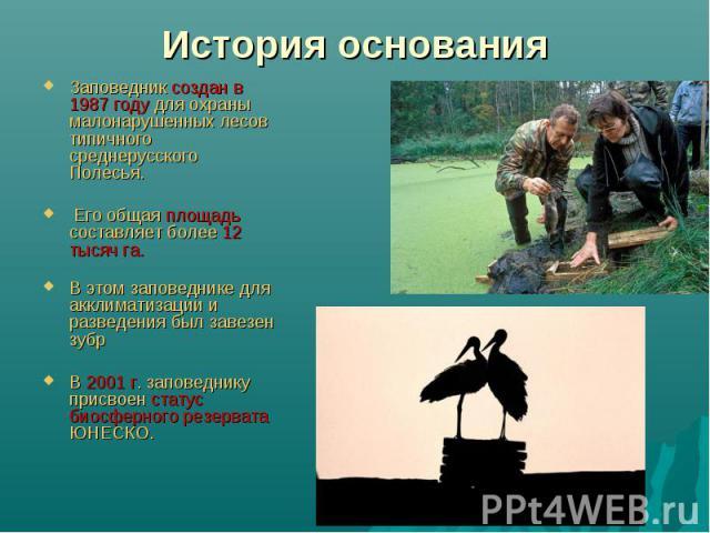 История основания Заповедник создан в 1987 году для охраны малонарушенных лесов типичного среднерусского Полесья. Его общая площадь составляет более 12 тысяч га.В этом заповеднике для акклиматизации и разведения был завезен зубрВ 2001 г. заповеднику…