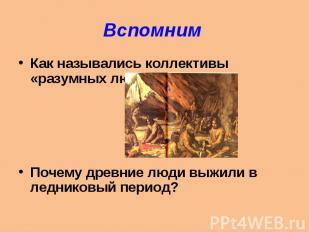 Вспомним Как назывались коллективы «разумных людей»?Почему древние люди выжили в