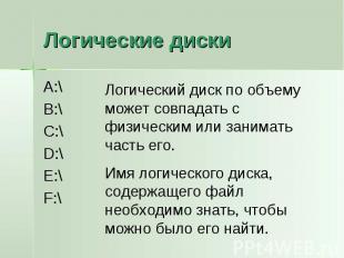Логические диски A:\B:\C:\D:\E:\F:\Логический диск по объему может совпадать с ф
