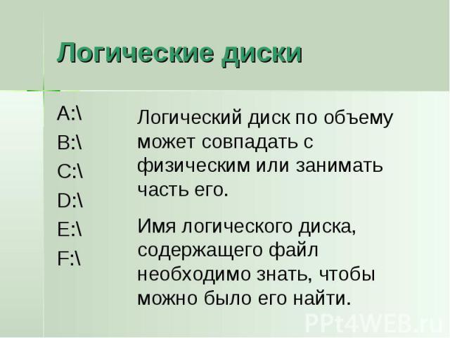 Логические диски A:\B:\C:\D:\E:\F:\Логический диск по объему может совпадать с физическим или занимать часть его.Имя логического диска, содержащего файл необходимо знать, чтобы можно было его найти.