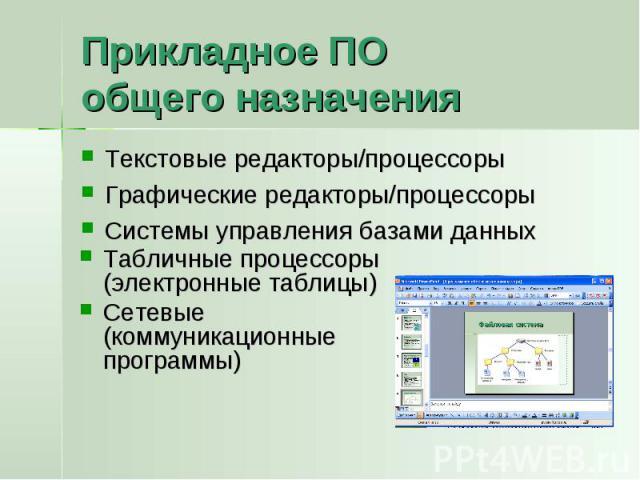 Прикладное ПО общего назначения Текстовые редакторы/процессорыГрафические редакторы/процессорыСистемы управления базами данныхТабличные процессоры (электронные таблицы)Сетевые (коммуникационные программы)