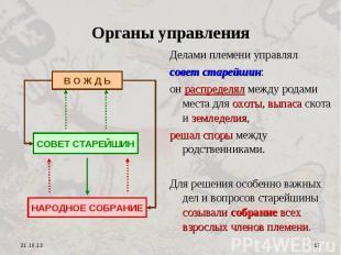 Органы управления Делами племени управлялсовет старейшин:он распределял между ро