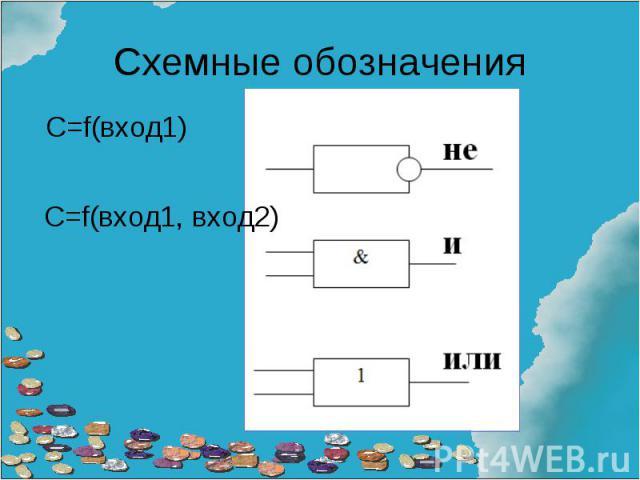 Схемные обозначения С=f(вход1)С=f(вход1, вход2)