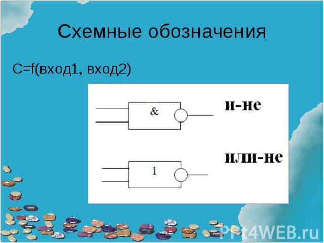 Схемные обозначения С=f(вход1, вход2)