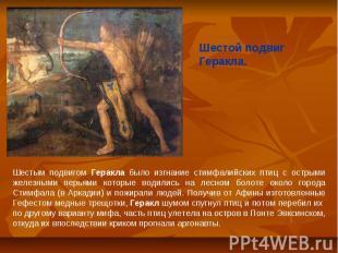 Шестой подвиг Геракла.Шестым подвигом Геракла было изгнание стимфалийских птиц с
