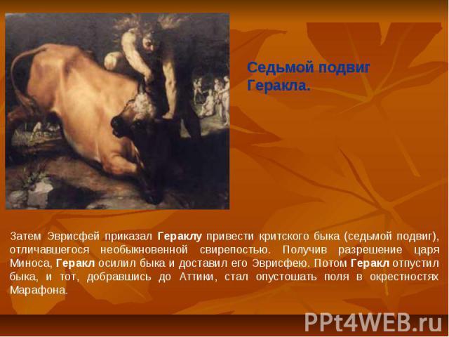 Седьмой подвиг Геракла.Затем Эврисфей приказал Гераклу привести критского быка (седьмой подвиг), отличавшегося необыкновенной свирепостью. Получив разрешение царя Миноса, Геракл осилил быка и доставил его Эврисфею. Потом Геракл отпустил быка, и тот…