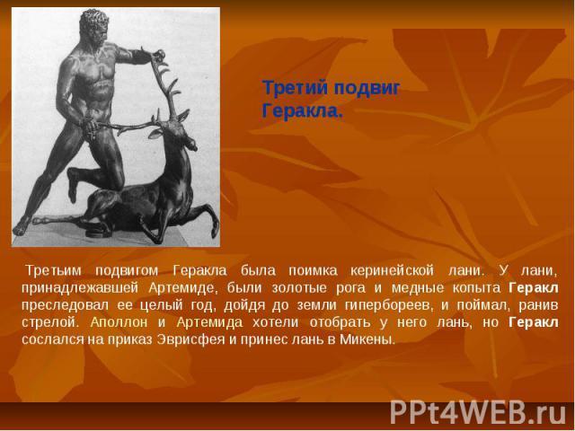 Третий подвиг Геракла. Третьим подвигом Геракла была поимка керинейской лани. У лани, принадлежавшей Артемиде, были золотые рога и медные копыта Геракл преследовал ее целый год, дойдя до земли гипербореев, и поймал, ранив стрелой. Аполлон и Артеми…
