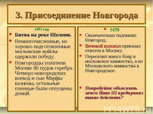 3. Присоединение Новгорода 1471 годБитва на реке Шелони. Немногочисленные, но хо