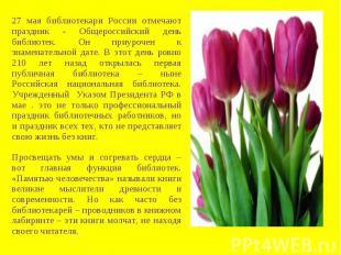 27 мая библиотекари России отмечают праздник - Общероссийский день библиотек. Он