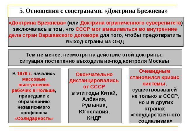 5. Отношения с соцстранами. «Доктрина Брежнева» «Доктрина Брежнева» (или Доктрина ограниченного суверенитета)заключалась в том, что СССР мог вмешиваться во внутренние дела стран Варшавского договора для того, чтобы предотвратить выход страны из ОВД …