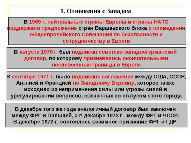 1.Отношения с Западом В 1969 г. нейтральные страны Европы и страны НАТО поддержали предложение стран Варшавского блока о проведении общеевропейского Совещания по безопасности и сотрудничеству в ЕвропеВ августе 1970 г. был подписан советско-западног…