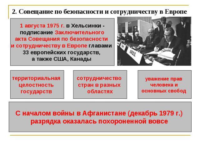 2.Совещание по безопасности и сотрудничеству в Европе 1 августа 1975 г. в Хельсинки -подписание Заключительногоакта Совещания по безопасности и сотрудничеству в Европе главами 33 европейских государств, а также США, Канады территориальная целостнос…
