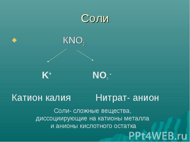 Соли Соли- сложные вещества, диссоциирующие на катионы металла и анионы кислотного остатка