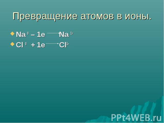 Превращение атомов в ионы. Na 0 – 1e Na 1+Cl 0 + 1e Cl1-