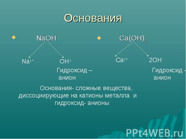 Основания Основания- сложные вещества, диссоциирующие на катионы металла и гидроксид- анионы