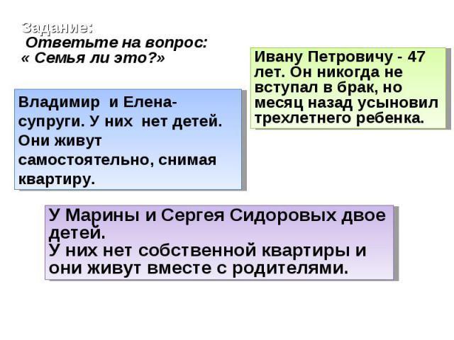 Задание: Ответьте на вопрос: « Семья ли это?»Владимир и Елена- супруги. У них нет детей. Они живут самостоятельно, снимая квартиру.Ивану Петровичу - 47 лет. Он никогда не вступал в брак, но месяц назад усыновил трехлетнего ребенка.У Марины и Сергея …