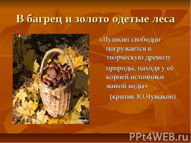 В багрец и золото одетые леса «Пушкин свободно погружается в творческую дремоту природы, находя у её корней источники живой воды» (критик Ю.Чумаков)