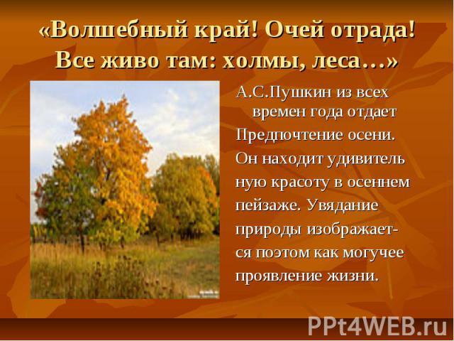 «Волшебный край! Очей отрада!Все живо там: холмы, леса…» А.С.Пушкин из всех времен года отдаетПредпочтение осени.Он находит удивительную красоту в осеннемпейзаже. Увяданиеприроды изображает-ся поэтом как могучеепроявление жизни.