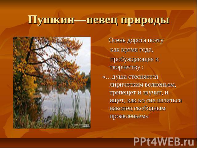 Пушкин—певец природы Осень дорога поэту как время года, пробуждающее к творчеству :«…душа стесняется лирическим волненьем, трепещет и звучит, и ищет, как во сне излиться наконец свободным проявленьем»