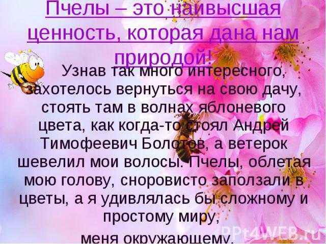 Пчелы – это наивысшая ценность, которая дана нам природой! Узнав так много интересного, захотелось вернуться на свою дачу, стоять там в волнах яблоневого цвета, как когда-то стоял Андрей Тимофеевич Болотов, а ветерок шевелил мои волосы. Пчелы, облет…