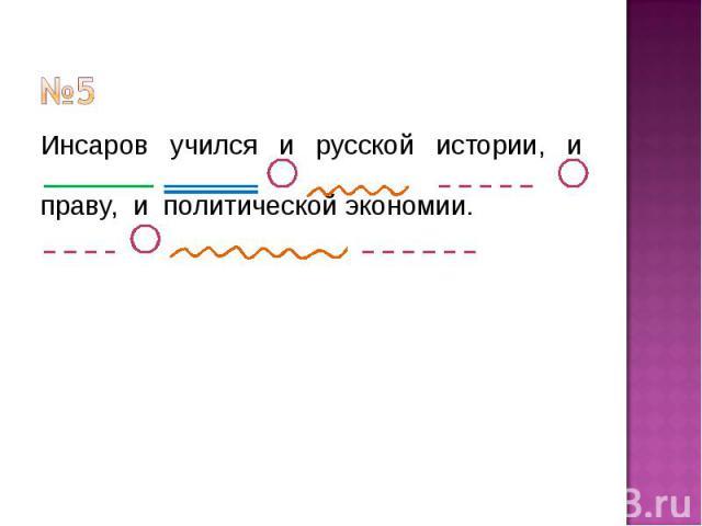 №5 Инсаров учился и русской истории, и праву, и политической экономии.