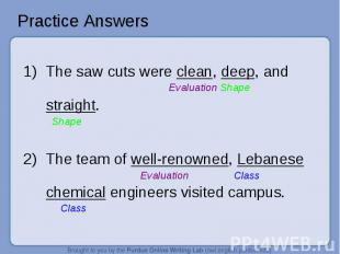 Practice Answers 1)The saw cuts were clean, deep, and Evaluation Shapestraight.