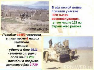 В афганской войне приняли участие 620 тысяч военнослужащих, в том числе 123 из З