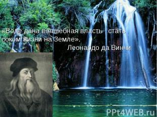 «Воде дана волшебная власть стать соком жизни на Земле». Леонардо да Винчи